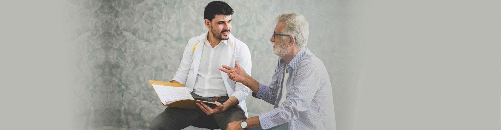 senior man talking to his therapist